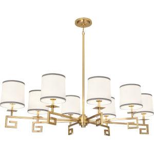 Jonathan Adler Mykonos Modern Brass Eight-Light Chandelier