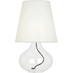 June Clear Glass Body One-Light Table Lamp With White Organza Fabric Shade