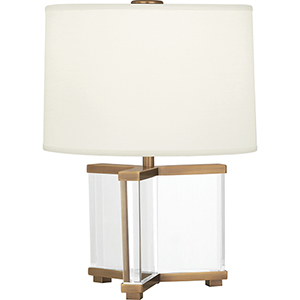 Fineas Clear Crystal and Aged Brass 16-Inch One-Light Table Lamp