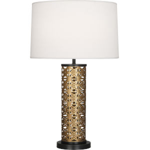 Williamsburg Etoile Warm Brass One-Light Table Lamp With Pearl Dupioni Fabric Shade
