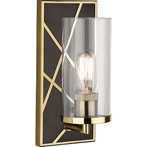 Michael Berman Bond Deep Patina Bronze with Modern Brass Accents Five-Inch One-Light Wall Sconce