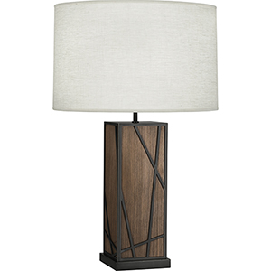 Michael Berman Bond Smoked Walnut Wood With Deep Patina Bronze Accents 30-Inch One-Light Table Lamp