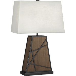 Michael Berman Bond Smoked Walnut Wood One-Light Table Lamp With Oyster Linen Shade