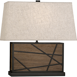 Michael Berman Bond Smoked Walnut Wood With Deep Patina Bronze Accents 20-Inch One-Light Table Lamp
