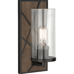 Michael Berman Bond Smoked Walnut Wood Deep Patina Bronze Accents Five-Inch One-Light Wall Sconce