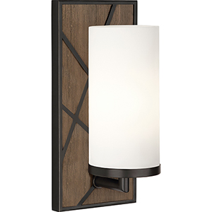 Michael Berman Bond Smoked Walnut Wood with Deep Patina Bronze Accents Five-Inch One-Light Wall Sconce