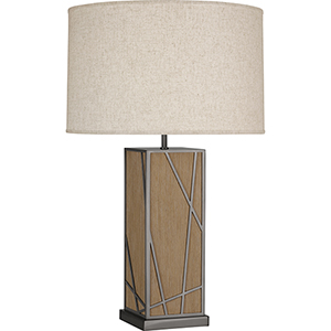 Michael Berman Bond Driftwood Oak Wood with Blackened Nickel Accents 30-Inch One-Light Table Lamp