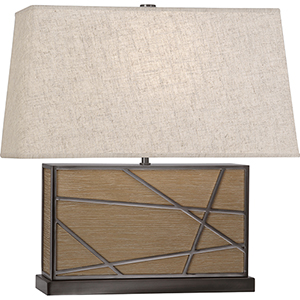 Michael Berman Bond Driftwood Oak Wood with Blackened Nickel Accents 20-Inch One-Light Table Lamp