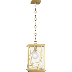 Michael Berman Bond Modern Brass Nine-Inch One-Light Mini Pendant