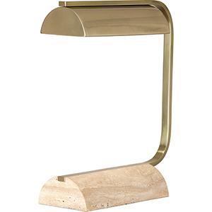 Julian Modern Brass and Travertine Stone Base 16-Inch One-Light Table Lamp