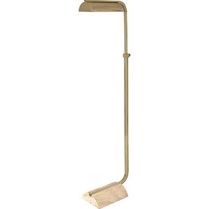 Julian Modern Brass and Travertine Stone Base 53-Inch One-Light Floor Lamp