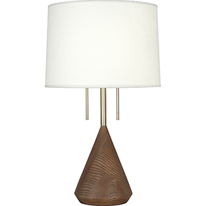 Wally Modern Brass with Walnut Wood Base 26-Inch Two-Light Table Lamp