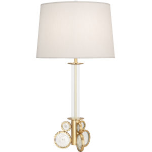 Atticus Modern Brass One-Light Table Lamp With Pearl Dupioni Fabric Shade