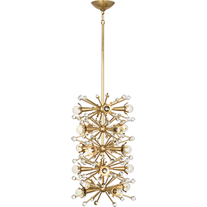 Jonathan Adler Sputnik Antique Brass and Clear Crystal Accents 14-Inch 20-Light Pendant