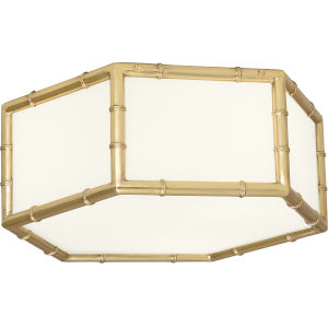 Jonathan Adler Meurice Modern Brass Three-Light Flushmount With White Glass Shade Panels