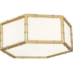 Jonathan Adler Meurice Modern Brass Three-Light Flushmount With White Glass Shade Panels