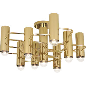 Jonathan Adler Milano Polished Brass Nine-Light Flushmount