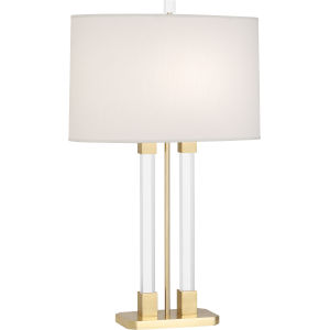 Plexus Modern Brass One-Light Table Lamp With Pearl Dupioni Fabric Shade