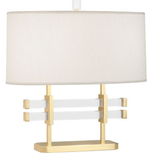 Plexus Modern Brass Two-Light Table Lamp With Pearl Dupioni Fabric Shade