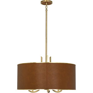 Francesco Antique Brass with Camel Leather Details 25-Inch Three-Light Pendant