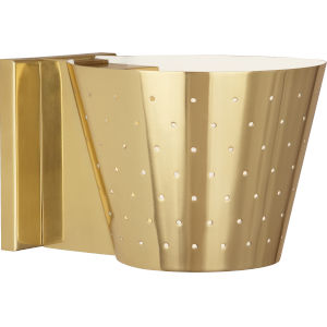 Pierce Modern Brass One-Light Wall Sconce With Perforated Metal Shade