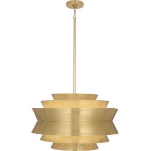 Pierce Modern Brass Three-Light Pendant With Perforated Metal Shade