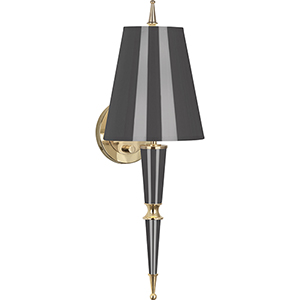 Jonathan Adler Versailles Ash Lacquered Paint with Modern Brass Accents Two-Inch One-Light Wall Sconce