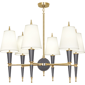 Jonathan Adler Versailles Ash Lacquered Paint with Modern Brass Accents 36-Inch Six-Light Chandelier