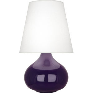 June Amethyst Glazed Ceramic One-Light Accent Lamp With Oyster Linen Shade