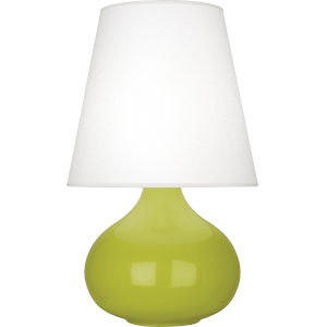 June Apple Glazed Ceramic One-Light Accent Lamp With Oyster Linen Shade