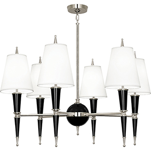 Jonathan Adler Versailles Black Lacquered Paint with Polished Nickel Accents 36-Inch Six-Light Chandelier