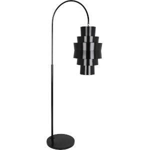 Pierce Plated Black Two-Light Floor Lamp With Metal Shade
