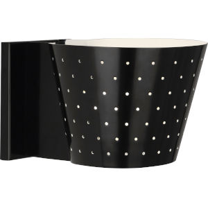 Pierce Plated Black One-Light Wall Sconce With Perforated Metal Shade