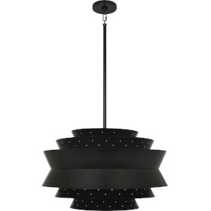 Pierce Plated Black Three-Light Pendant With Perforated Metal Shade