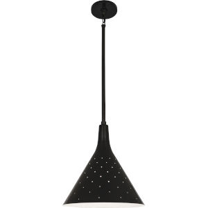 Pierce Plated Black One-Light Pendant With Perforated Metal Shade