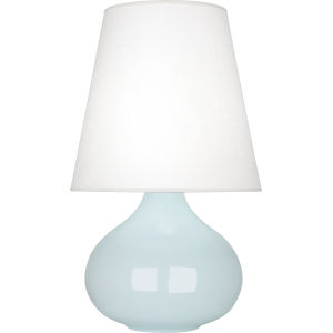 June Baby Blue Glazed One-Light Accent Lamp With Oyster Linen Shade