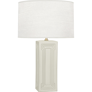 Williamsburg Nottingham Bruton White Glazed Ceramic with Modern Brass Accents 30-Inch One-Light Table Lamp