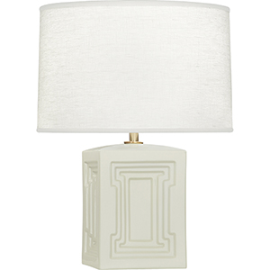 Williamsburg Nottingham Carter Gray Glazed Ceramic with Modern Brass Accents 18-Inch One-Light Table Lamp