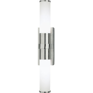 Roderick Polished Chrome Two-Light LED Wall Sconce With White Frosted Glass Shades