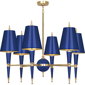 Jonathan Adler Versailles Navy Lacquered Paint with Modern Brass Accents 36-Inch Six-Light Chandelier