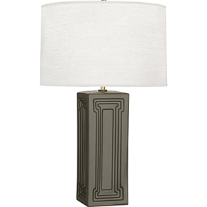 Williamsburg Nottingham Carter Gray Glazed Ceramic with Modern Brass Accents 30-Inch One-Light Table Lamp