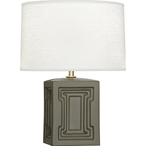Williamsburg Nottingham Carter Gray Glazed Ceramic wtih Modern Brass Accents 18-Inch One-Light Table Lamp