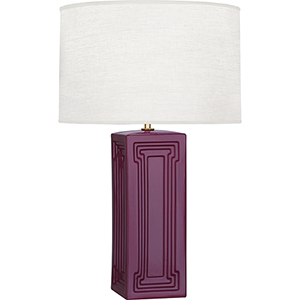 Williamsburg Nottingham Carter Plum Glazed Ceramic with Modern Brass Accents 30-Inch One-Light Table Lamp