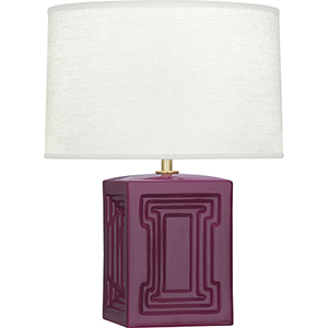 Williamsburg Nottingham Carter Plum Glazed Ceramic with Modern Brass Accent 18-Inch One-Light Table Lamp