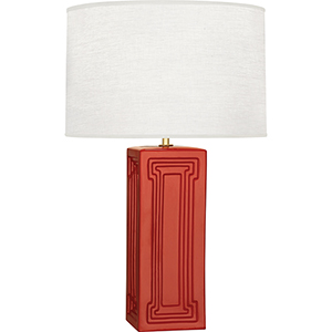Williamsburg Nottingham Dragons Blood Glazed Ceramic with Modern Brass Accents 30-Inch One-Light Table Lamp