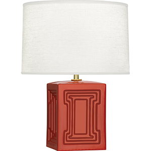 Williamsburg Nottingham Dragons Blood Glazed Ceramic with Modern Brass Accents 18-Inch One-Light Table Lamp
