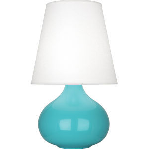 June Egg Blue Glazed One-Light Accent Lamp With Oyster Linen Shade