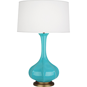 Pike Egg Blue Glazed Ceramic 32-Inch One-Light Table Lamp