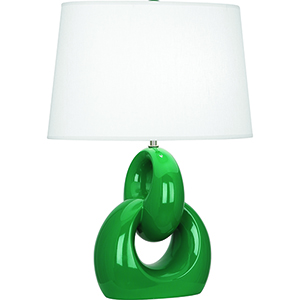Fusion Emerald Green Glazed Ceramic with Polished Nickel Accents 27-Inch One-Light Table Lamp