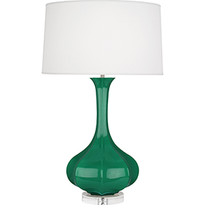 Pike Emerald Green Glazed Ceramic with Lucite Base 33-Inch One-Light Table Lamp